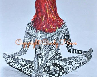 Digital art, digital download,Yoga, Zentangle art, Zentangle, Yoga girl, redhead, yoga pose, Yogi