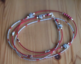 Set the Stage -  Red and Silver Double Strand Waistbeads