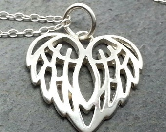 Guardian Angel Heart Wings Necklace 925 Sterling Silver - Divine Love Charm NEW
