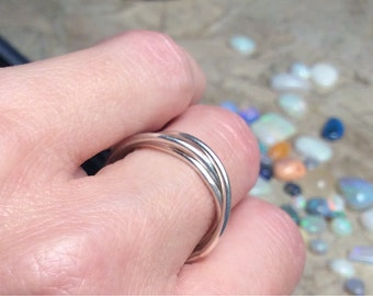 Handmade Triple Band Sterling Silver Ring