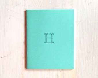 Medium Notebook: Monogram Notebook, Monogram, H, Blue, Blank Journal, Wedding, Favor, Monogram Journal, Unique, Gift, Stocking Stuffer