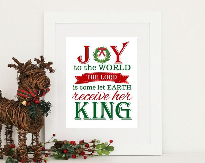 Christmas Decor Joy to the World Print Digital Download PDF