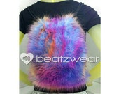 MADE TO ORDER FuZzy backpack rainbow tie dye fluffies rave bag faux fur purse hippie trippy rad furry boots legwarmers pink orange purple
