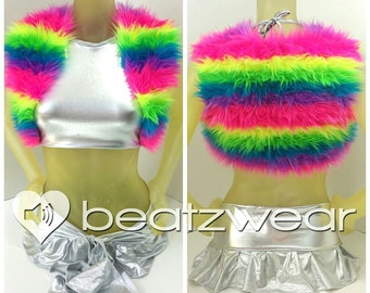 MADE TO ORDER furry vest neon rainbow pink purple green yellow bolero crop top rave music festival accessories cropped vest festival fashion