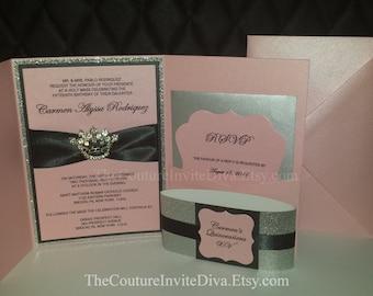 Sweet Sixteen Invitation, Princess Crown Invitation, Rhinestone Crown Invitation,Glitter Bling Invitation