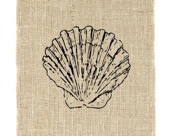 Scallop Shell Unframed, Shell art, ocean, sea, nautical, Burlap Art, Unframed