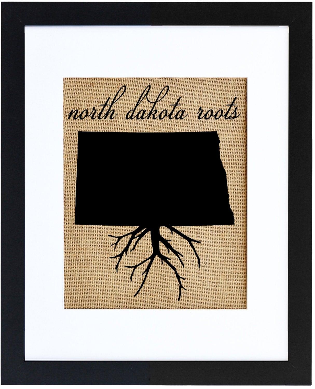 North Dakota Roots Burlap Art Burlap Print Wall Art
