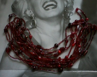 Set of Three Ruby Red Flapper Necklaces