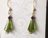 Olivine Green Swarovski Christmas Tree Earrings with Gold Filled Wires