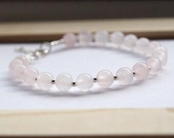 Rose Quartz Bead Bracelet, Gemstone Bracelet, Love Bracelet, Positive Energy Bracelet