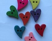 Hearts Wooden Buttons