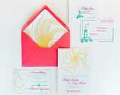 Nautical wedding invitations with octopus for beach lighthouse cruise wedding- deposit listing