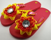 Red and Yellow Flip Flops- Ladies M (7 to 8.5)