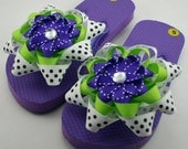 Purple and Lime Flip Flops- Childs S (Girls 8-9)