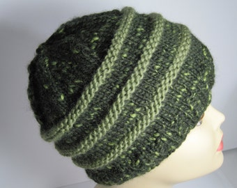 Hand-knit Dark Green Wool hat.