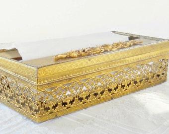Vintage Ornate Gilt Filigree Hinged Tissue Box, Shabby Elegance, Cottage Style, Bathroom Decor