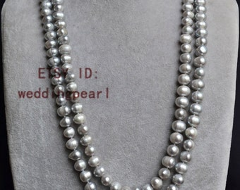 grey pearl necklace, long pearl necklaces, 50 inches 9-10mm grey pearl necklaces, freshwater pearl necklaces, pearl,jewelry