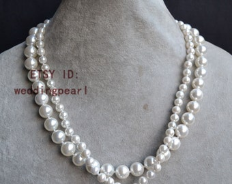 pearl set, two strand pearl necklace,wedding pearl necklace,bridal pearl necklace,2 rows white shell pearl necklace, twisted pearl necklace