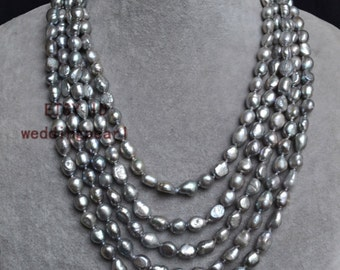gray pearl necklace,long pearl necklaces,100 inches baroque pearl necklaces,7x10mm freshwater pearl necklaces,pearl,jewelry,wedding necklace