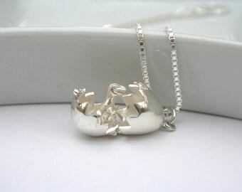 Sterling Silver Dinosaur Egg Necklace