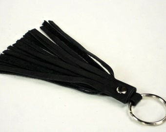 Large Leather Tassel Keyfob Black Real Leather Tassel with Keyring Handmade Accessory by WhiteCross Designs Made in USA