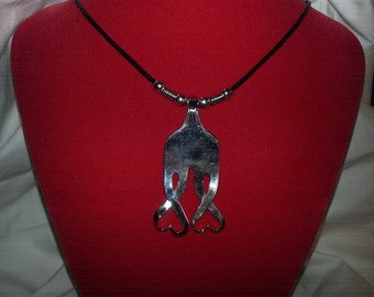 Fork Necklace, silver necklace, leather cord, Vintage, Silverware Jewelry, Fork Jewelry, Hearts