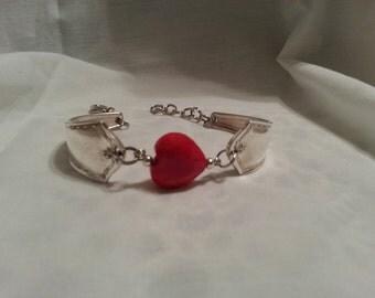 Spoon Bracelet, Silverware Jewelry, Vintage, Spoon Jewelry, Heart, Red