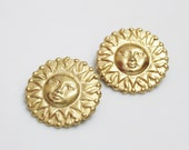 Large Sun Earrings, Big Bold Gold Earrings , 1980's Jewelry , Sun Jewelry