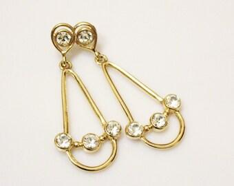 Gold Rhinestone Earrings, Gold Drop Earrings, Sparkly Earrings, Holidays Jewelry