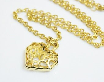 Vintage Chunky Gold Heart Necklace, Gold Statement Necklce, Long Gold Chain Necklace