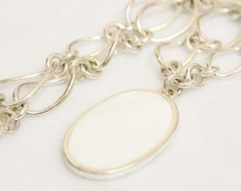 Vintage Chunky Silver Shell Necklace by Avon, Bold Pendant Necklace