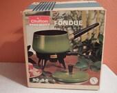 Vintage Chilton Electric Fondue Pot Avocado Green Fondue Forks 60s