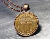 PENDANT Freedom Necklace Vintage Token American Flag Copper / Brass Eagle Shield