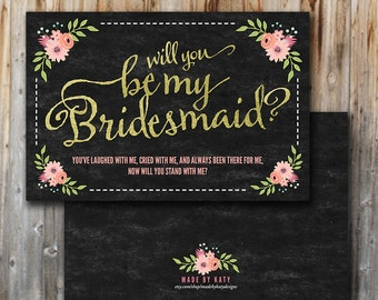 Will You Be My Bridesmaid Cards, Instant Download, Printable, Chalk, Unique