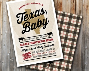 BBQ Baby Shower Invitation: Made In Texas, Printable, Couples Shower, Customized