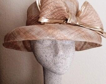 SALE - Formal Silver & Gold Slanted Crown and Domed Brim Hat