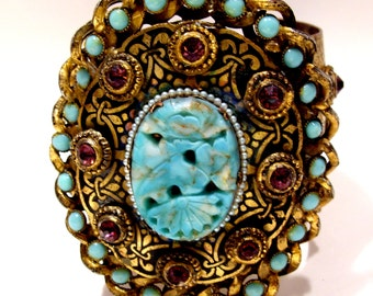 Brass Cuff Bracelet Adorned With Turquoise Art Glass and Cabochon Beads, Amethyst Rhinestones and Trimmed with Pearls