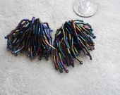 Vtg Clip On Earrings-Irridescent Beaded Fringe Dangles-C2731