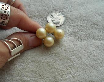 Vtg Clip On Earrings-Faux Pearl Bobbles-C2851