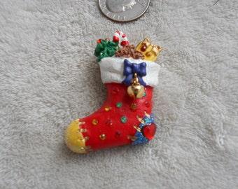 Vtg Pin-Christmas Stocking-P3810