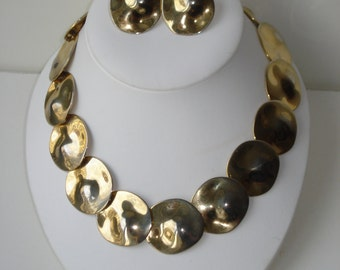 Gold Tone Choker Necklace and Earrings Vintage Round Link Chunky Costume Jewelry 1970s