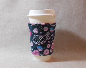 Fun Paisley Print Slide-On Coffee Cozy
