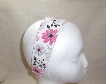 Pretty Pink, Gray, Black and White Floral Fabric Headband