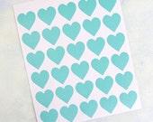 30 acqua hearts stickers