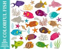 BUY 1 GET 1 FREE - Digital Colourful Fish Clip Art - Sea, Underwater, Fish, Coral, Ocean, Starfish, Sea Shell, Seaweed Clip Art