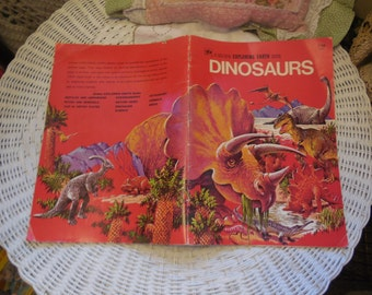 Dinosaurs Book, Vintage Children's Book, A Golden Explore Earth Book Dinosaurs 1973 , Home Schooling Book, Learning book,  :)
