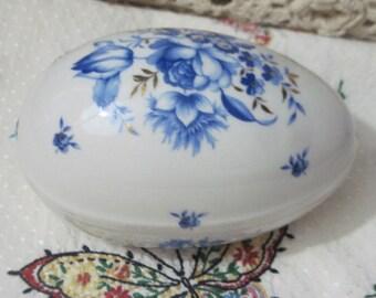 Egg Big Porcelain Egg Box or Trinket Box 1987, Egg, Egg Collectible,  :)S
