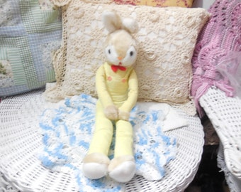 Yellow Bunny with Long Arms and Long Legs He is 19 in Long, Vintage Stuffed Animal, Vintage Toy, Rabbit/