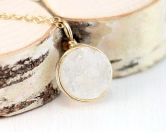 Gold Druzy Necklace, 14k Gold Filled White Druzy Quartz Pendant Yellow Gold Wire Wrapped Drusy Jewelry