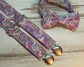 Purple Pink Green Paisley Bow Tie and Suspender Set  ( Men, boys, baby, toddler, infant ) outfit